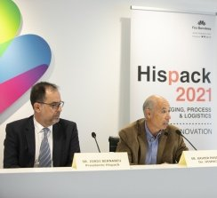 Jordi Bernabeu (presidente de Hispack), Xavier Pascual (director de Hispack) y Toni Pinós (responsable de marketing de Hispack).